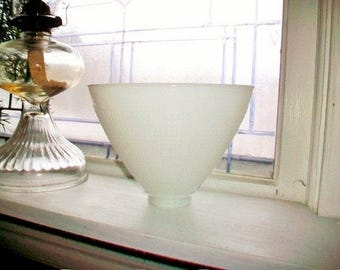 Vintage Light Shade White Milk Glass Waffle Textured 1950s Torchiere