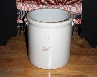 Antique Red Wing Crock 4 Gallon Stoneware with Handles