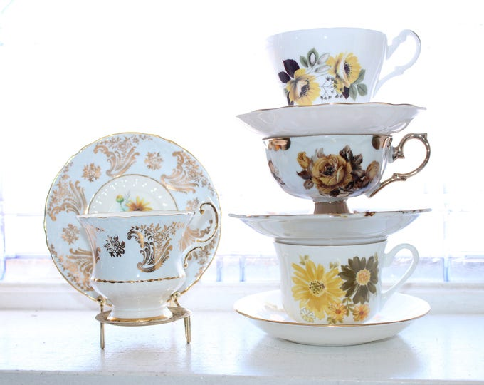 4 Vintage Tea Cups and Saucers Collection Mix and Match Set Bone China
