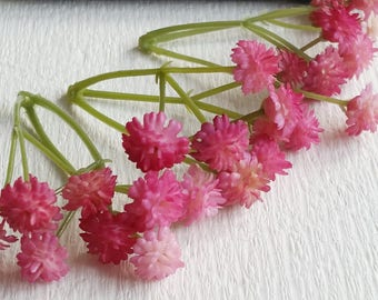 Hot pink Tiny Baby's Breath Bush Plastic (gypsophila) Flowers/wedding/ Flower crown /Flower Bouquet/ Brooch/Hat accessories(t.a)