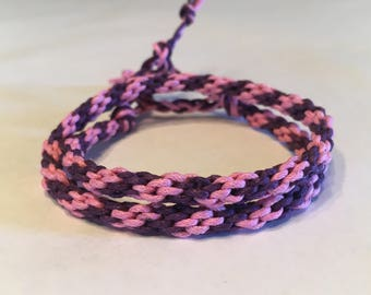 Pink and Purple Striped Double Wrap Cylinder Bracelet