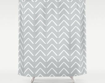 Premium Smooth FABRIC SHOWER CURTAIN Light Gray White Tribal ZigZag Chevron Arrows Neutral Minimalist Contemporary . Machine Wash Tumble Dry