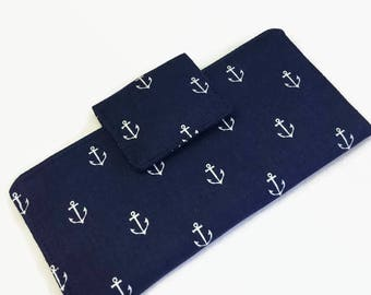 Checkbook cover, Fabric Checkbook Cover, Nautical Checkbook Holder,  Organizer, Check book case,