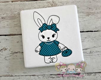 Girls Easter bunny shirt - sketch bunny shirt - embroidered bunny shirt with teal polka dress and purse - cute bunny shirt with bow