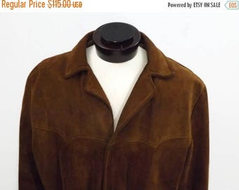 Super Sale 60s Western Style Snap Front Brown Suede Leather Simco Jacket Coat Size 44