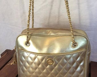 15%OFF VACATION SALE Vintage Genuine Pierre Balmain Gold Metallic Synthetic Leather Chain Link Satchel Shoulder Bag
