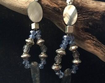 Kyanite crystal leverback earrings