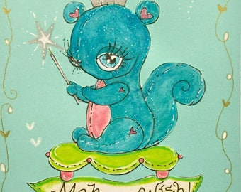 Whimsical blue glitter squirrel hand made greeting card