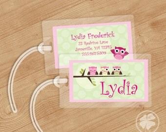Owl -   Luggage Tag, Bag Tag, Backpack Tag, ID Tags, Personalized, Custom