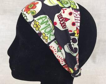 Fabric Headband- Eggplant Day of the Dead   Womens Headband   Wide Headband   Boho Headband   Cotton Headband   Yoga Headband   Boho Headban