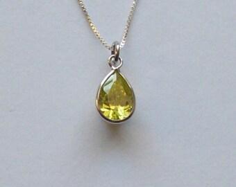 Citrine sterling silver vintage pendant necklace, citrine pendant, vintage citrine pendant, sterling silver chain, citrine and silver.