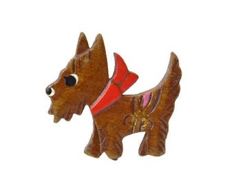 50% OFF Vintage Wood Scotty Dog Brooch // Wooden Painted & Carved Figural Animal Novelty Pin // Canine with Red Scarf Bow // Made in Japan