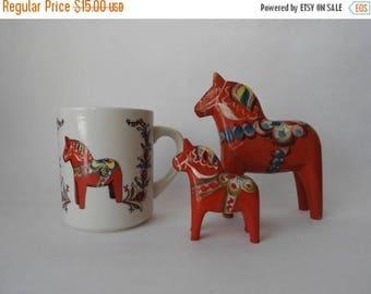 WEEKEND SALE Swedish Dala Horse Mug
