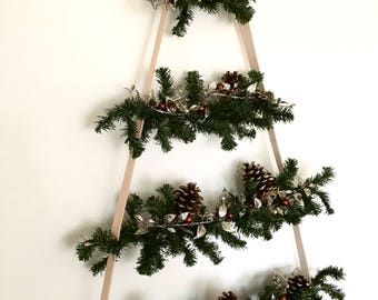 christmas tree wall christmas tree kit minamalist small space christmas dorm room small apartment tiny house - Small Black Christmas Tree