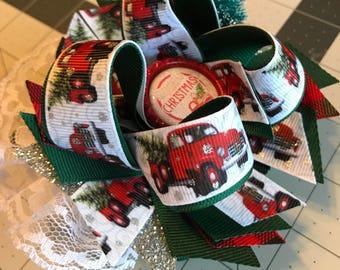 Christmas vintage truck hair bow