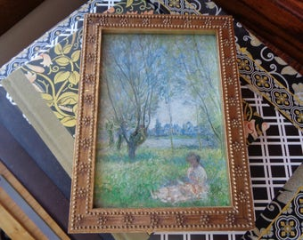 "Vintage Renoir Framed Lithographic Print in Mint Condition of a woman sitting in the ""plein air"", A Great Example of  French Impressionism"