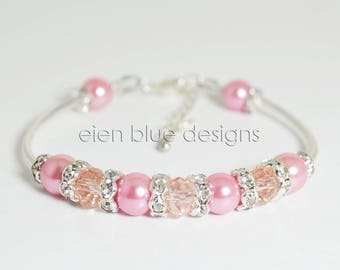 Pearl Bracelet, Antique Pink Pearl Cuff and Earrings, Pink Pearl & Crystal Bracelet, Rose Pink Pearl Bracelet, Simple Pink Pearl Jewelry Set