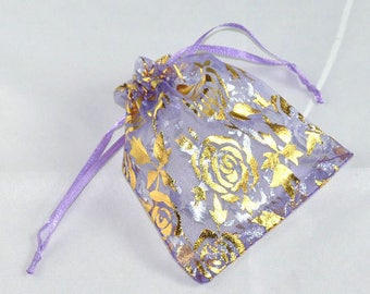 100 Organza Bags - Purple w/ Gold Roses - Draw String - Wedding Gift Bags & Pouches - 16x13cm - Ships IMMEDIATELY from California -BAG58-100