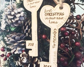 Personalized Key Ornament, first christmas in new home, key ornament , custom, engraved key ornament