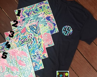 Flash Sale Lilly Inspired Monogram Pocket Tee