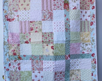 Baby Girl Quilt, Floral Baby Quilt, Ballet Dancers, Feminine Baby Quilt, Pretty Crib Quilt, Nursery Decor, Gift for Baby, Baby Shower Gift