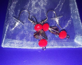 Valentine's Clear Heart and Red Chinese Crystal Earrings