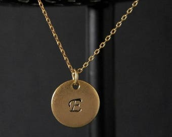 SALE Gold Disc Initial Necklace