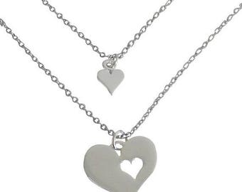 SALE Silver Mother Daughter Charm Necklaces
