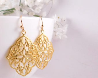 Gold Filigree Earrings, Gold Lace Earrings, Gold Filigree Moroccan Earrings, Gold Boho Earrings, Filigree Gypsy Statement Earrings
