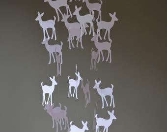 Bambi / Deer nursery mobile or baby mobile made from white card stock -- Handmade mobile, baby gift