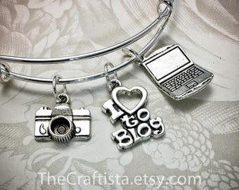BLOG, Blogger Bracelet, Blogger Bangle, Blogger Charm, Blogger Gift, Gifts for Bloggers, I love to Blog, Laptop Charm, Camera Charm, Blogger
