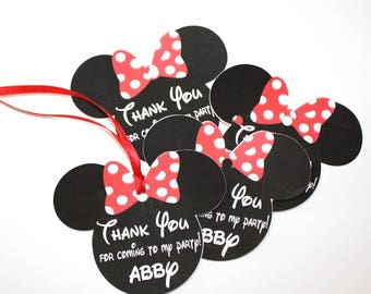 Set of 40 Personalized Thank You Party Favor Tags, Happy Birthday Party, Red Polka Dot Minnie Mouse Ears, Party Decorations