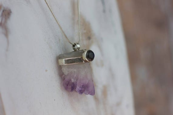 RAW AMETHYST NECKLACE- Sterling Silver- Square Cut Amethyst- Bespoke Crystal Necklace- Healing Crystal Jewelry- Chakra- Yoga Wear- Amethyst