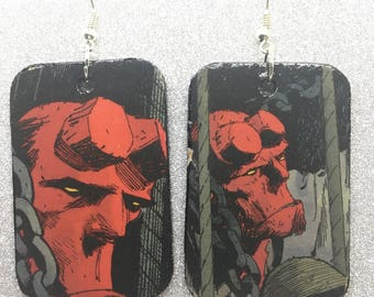 Upcycled Hellboy Comic Book Earrings