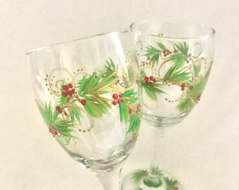 Free shipping Christmas hand painted pair of wine glasses