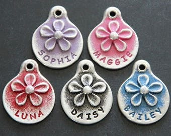 Hand Stamped Dog Tag Flower Pet ID Tag Dog ID Tag Custom Dog Tags Personalize Pet Tags
