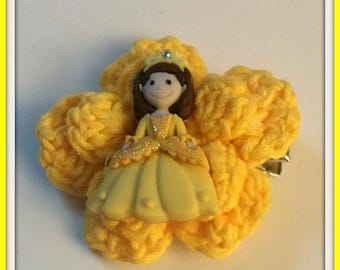 On Sale Princess Hair Clip Yellow Handmade Crochet