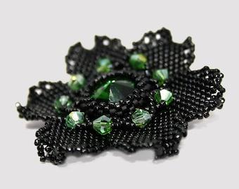 Black Bead Flower Brooch, Beaded Pin, Beadwoven Handmade Seed bead Brooch