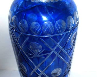 cut to clear blue glass vintage Boho vase  vintage glass vase  starburst base