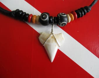 """Shark Tooth Necklace, Modern Day White Shark tooth, Silver plated wire, Adjustable cord to 26"""""""