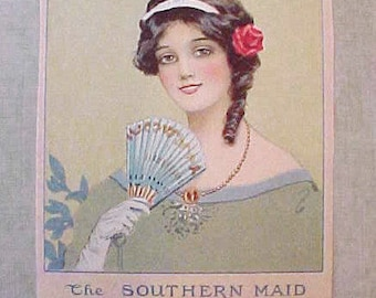 "Beautiful Edwardian Era Scrap of ""Southern Maid of Wondrous Grace"""