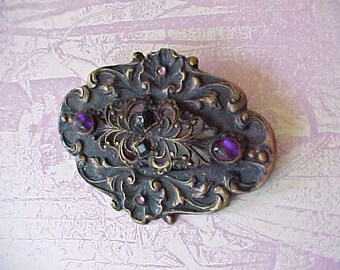 "Big Beautiful Victorian Brooch with Deep Purple Cabochon ""Jewels"""