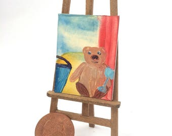 Teddy beach bucket and spade Painting Miniature Dolls House Picture Original Art In Wax