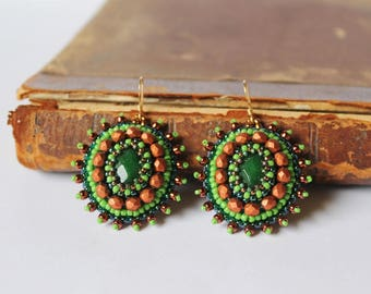 Green Copper Earrings Beadwork Earrings Cabochon Earrings Bead embroidery Earrings Green Dangle Earrings Boho style Woodland Gift idea