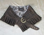 RESERVED FOR CLARY leather steampunk mini skirt Dark brown leather wrap around leather ruffled steampunk skirt