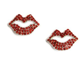 Rhinestone Sliders - Valentine Red Lips - Set of Two