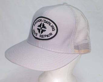 Vintage 1980s Trucker Ball Cap - Anchor / Darling Valve Repair - Hipster, Rockabilly, Retro, Gearhead,Accessories, Cool Hat Bro