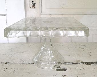 Vintage Glass Cake Stand Square Indiana Glass Co Constellation Pattern