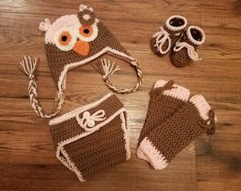 Baby Pink & Cafe Owl Costume Set Hat Leg Warmers Diaper Cover Booties - Winter Outfit Newborn Boy Girl Beanie  Photo Prop