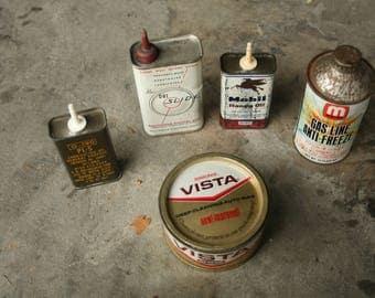 Set of Five, Oil Tins, Auto Wax, Anti-Freeze, Dri-Slide, Garage Decor, Man Cave, Car Collector, Mobil Oil, Auto Lovers
